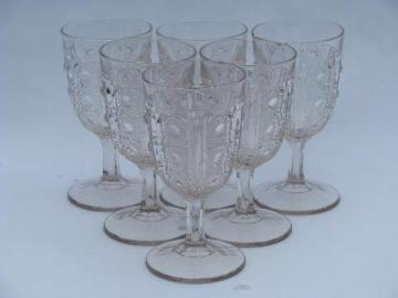 antique bullseye pattern glass water glasses, six EAPG vintage goblets