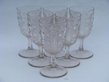 antique bullseye pattern glass water glasses, six EAPG vintage goblets