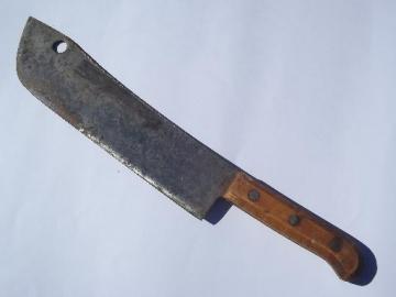 antique butcher cleaver knife, huge old full tang forged steel blade