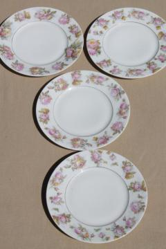 antique cabbage rose border china plates, early 1900s vintage dessert set