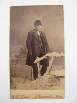 antique cabinet photo, Victorian gent in winter clothes, Evansville Wis