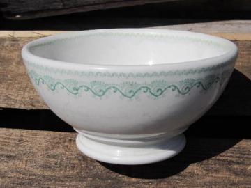 antique cafe au lait bowl, English ironstone china transferware