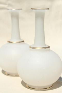 antique camphor glass vases or vanity cologne bottles, white frosted glass w/ gold trim