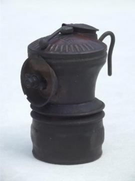 antique carbide lamp, brass Auto Lite miners head lamp steampunk vintage