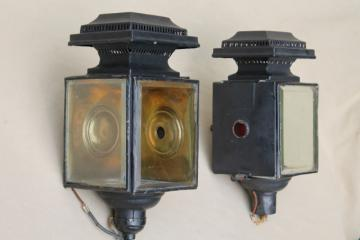 antique carriage  lights, early automobile lamps converted to 1930s vintage porch lighting