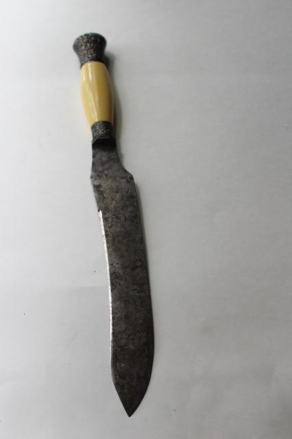 antique carving knife w/ ivory celluloid handle, blade marked Landers Frary Clark