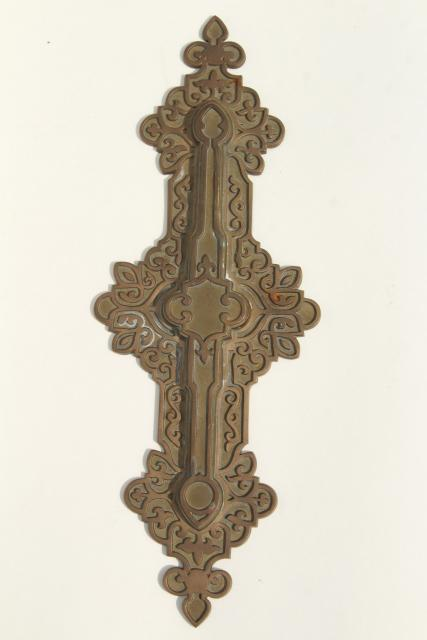 antique cast brass or bronze decorative hardware, celtic scrolls architectural ornament