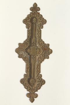 antique cast brass or bronze decorative hardware, celtic scrolls architectural ornament