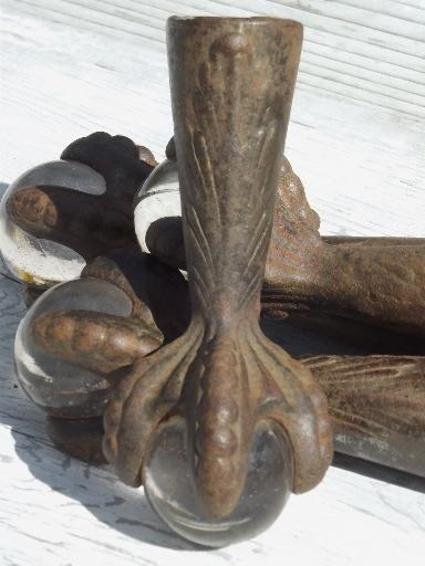 Antique Cast Iron Ball Amp Claw Foot Feet Set Victorian Era