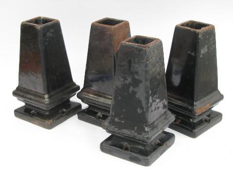 Antique Cast Iron Enamel Stove Feet Vintage Kitchen Range