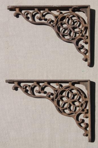 Antique Cast Iron Wall Shelf Bracket Corbels Authentic Vintage