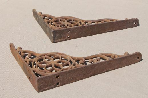 Antique Cast Iron Wall Shelf Bracket Corbels, Authentic