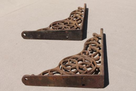 antique cast iron wall shelf bracket corbels, authentic vintage hardware
