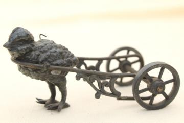 antique cast metal figural inkwell or egg holder, baby chick w/ cart