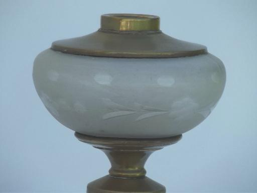 antique castles transferware china lamp base,  old  oil lamp w/ glass font