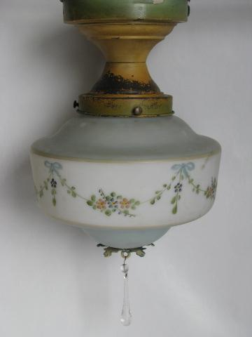 antique ceiling fixture light w/ handpainted glass shade, vintage ...