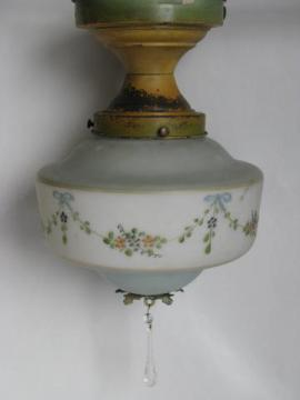 antique ceiling fixture light w/ handpainted glass shade, vintage cottage lighting