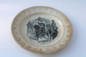 antique childs ABC plate, black transferware historic scene engraving Civil War soldiers