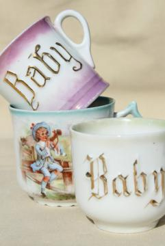 antique china Baby cups, Victorian Edwardian era nursery dishes, infant gifts