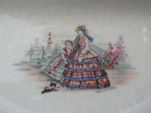 antique china baby feeding dish, divided bowl w/ Victorian lady and girl