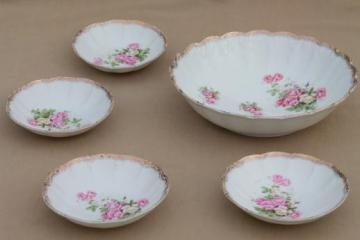 antique china berry or fruit bowls, early 1900s vintage dessert dishes w/ lovely roses