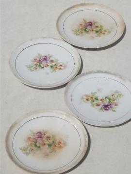 antique china cake plates w/ pansies floral, vintage shabby cottage chic
