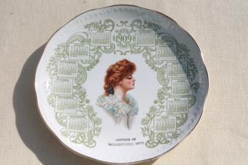 antique china calendar plate vintage 1909  w/ Gibson girl lady portrait red haired beauty