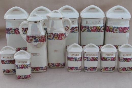 antique china canister set early 1900s vintage czechoslovakia