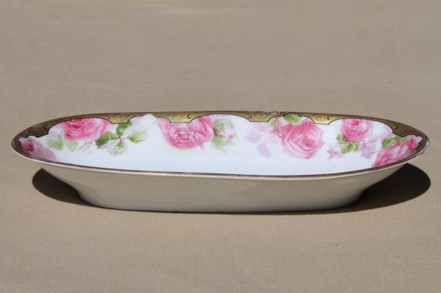 antique china celery dish w/ painted roses & gold, long oval bowl for desk tray or vanity table
