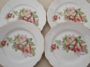 antique china doll dishes, little old china plates w/ cabbage roses
