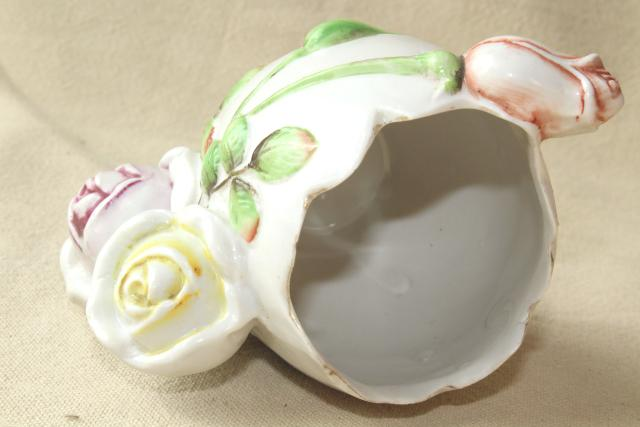 antique china flower vase, eggshell Easter egg w/ roses, early 1900s vintage Germany