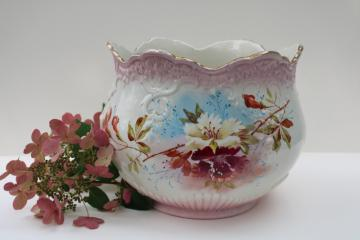 antique china jardiniere, fern planter or cachepot, turn of the century vintage