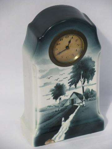 antique china kitchen shelf clock, painted blue & white, vintage Germany?