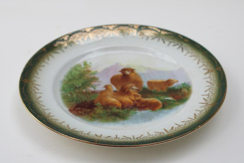 antique china plate pastoral scene sheep in the mountains, early 1900s vintage