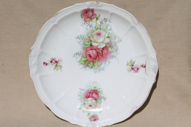 China 076 apples W.E.B cottage d\u00e9cor Vintage cottage chic china plates and grapes on pink and yellow background Co cherries