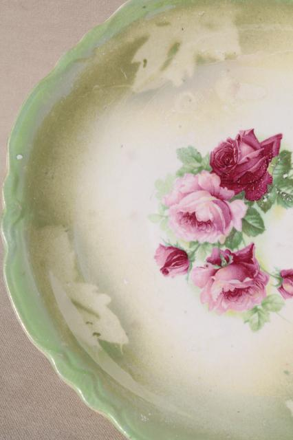 Antique China Plates Green Amp Pink Roses Painted Dishes
