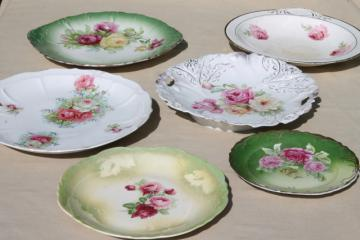 antique china plates, green & pink roses painted dishes, vintage shabby cottage chic