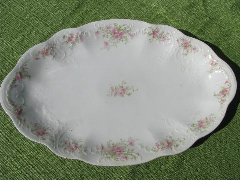 antique china platters, early 1900s vintage floral pattern porcelain