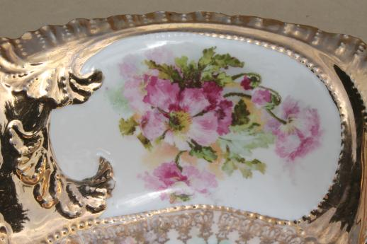 antique china serving bowl w/ gorgeous gold encrusted floral, RS Prussia or Germany vintage