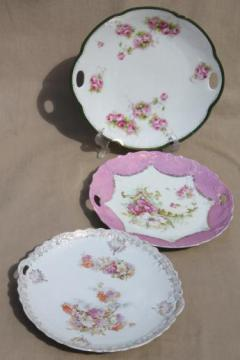 antique china serving plates, trays to hold petit fours or tea sandwiches