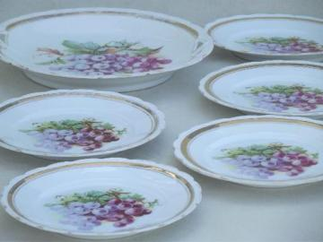 antique china tea plates w/ painted grapes, serving and  sandwich plates
