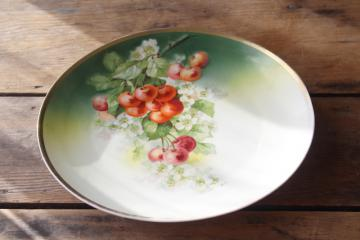antique china tray or plate w/ cherries & cherry blossoms, Germany three crowns mark