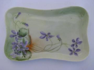 antique china vanity or dresser pin tray, hand-painted violets, dated 1909