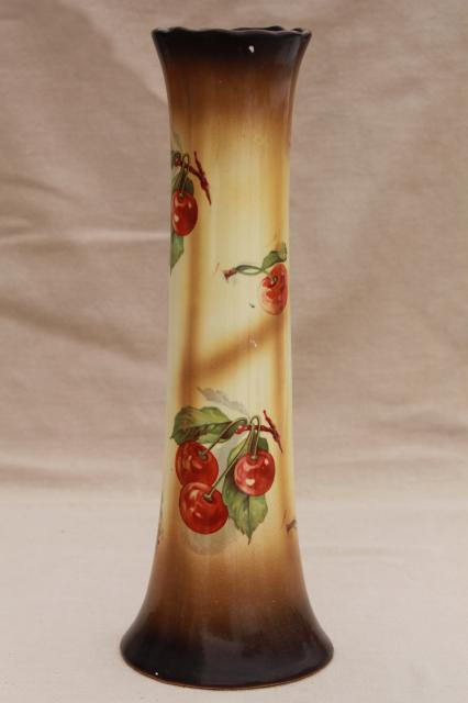 Antique China Vase W Red Cherries Tall Shape For Flowering Tree