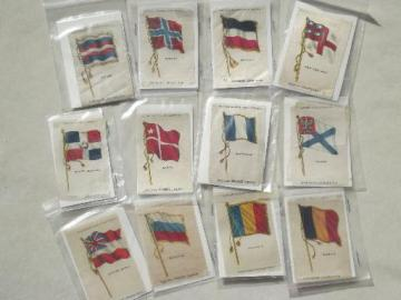 antique cigarette silks lot, world flags print silk ribbon trading 'cards'
