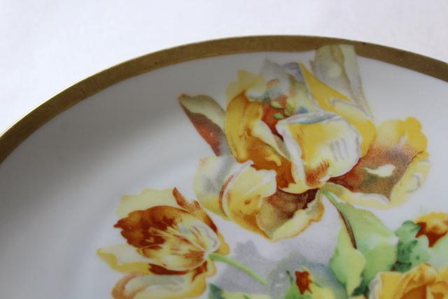 antique circa 1900 O&EG Royal Austria china plate, full blown yellow roses floral