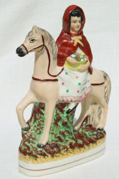 antique circa 1900 Old Staffordshire china figure, red riding hood egg basket lady on horse back