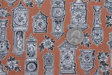 antique clocks print cotton fabric, mid-century vintage fabric w/ steampunk style