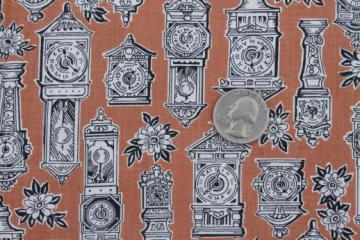 antique clocks print cotton fabric, mid-century vintage fabric w/ steampunk style