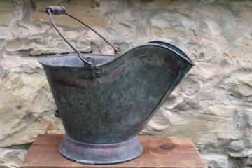 antique coal bucket scuttle w/ worn original paint, vintage primitive for fireplace or stove
